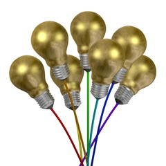 Bouquet of golden light bulbs on wires of different colors