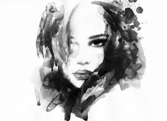 Wall Mural - Beautiful woman face. watercolor illustration