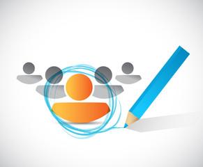circle around a person. illustration design