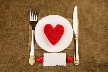 Valentine's dinner with handmade heart