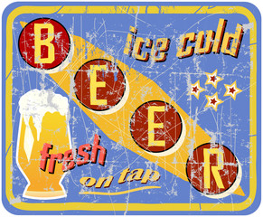 vintage and retro beer sign, vector illustration