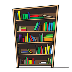 Cartoon illustration of a bookshelf.