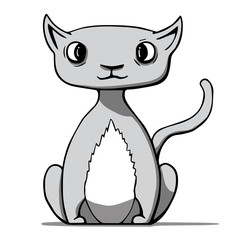 Funny cartoon cat. Vector illustration