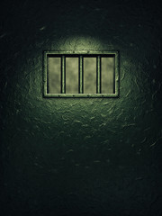 Prison cell door,barred window , Freedom