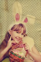 vintage easter bunny girl with basket