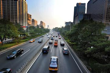 intense car traffic in Beijing, China