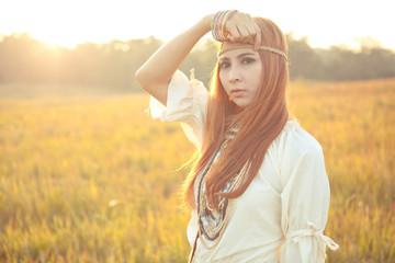 Hippie woman posing