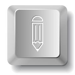 Pencil. Vector computer key.