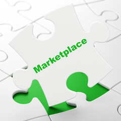 Advertising concept: Marketplace on puzzle background