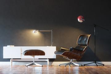 Black Cozy Leather Armchair In Modern Interior 1st Version