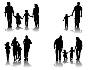 Black silhouettes and shadows of families, vector