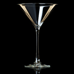 Empty Martini Glass On Black Background