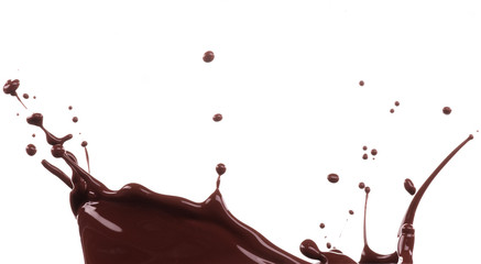 Chocolate splash over white background