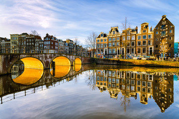 Foto auf Acrylglas Amsterdam Sunny morning in Amsterdam, Netherlands