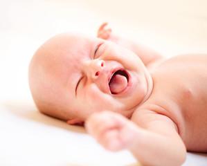 Crying Newborn Baby. Baby Boy Cry