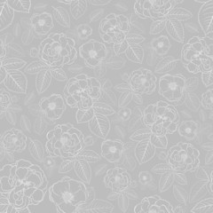 Seamless pattern of flowers, white on gray