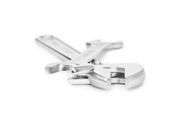 Wrenches on a white background closeup