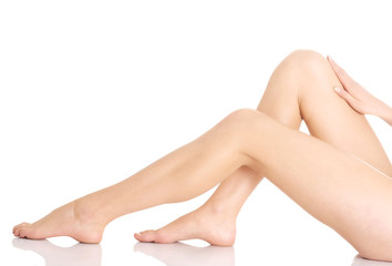 Beautiful and smooth woman's perfect legs with fresh skin.