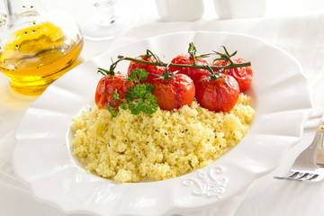 Tomatoes grilled with couscous...