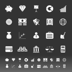 Finance icons on gray background