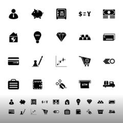 Money icons on white background