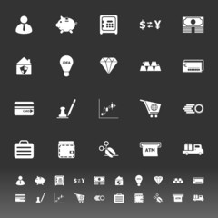 Money icons on gray background
