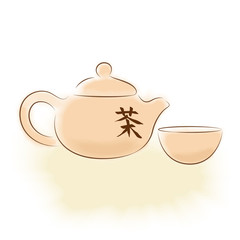"""Traditional oriental teapot with Chinese hieroglyph """"tea"""""""