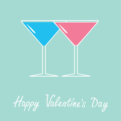 Two glasses of martini. Happy Valentines Day card.
