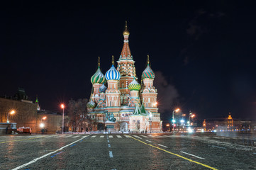 Wall Murals Moscow St. Basil's Cathedral at night, Red Square, Moscow, Russia