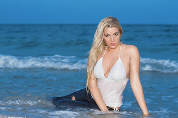 Sexy blonde on the beach