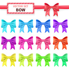 Collection colorful ribbon bows on white background.