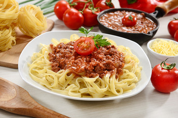 Noodles pasta with bolognese beaf sauce