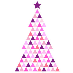Merry Christmas pink Mosaic Tree isolated on white