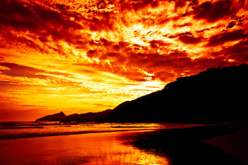Fotomurales - Tropical Sunset, Lopes Mendes Beach, Ilha Grande Island, Brazil