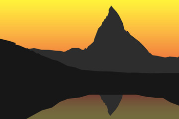 Matterhorn with reflection vector