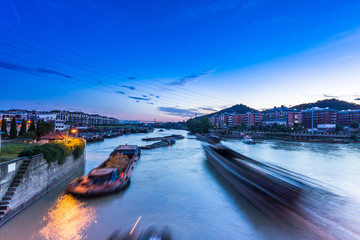 Busy waterway transport in china south