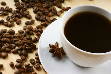Coffee with cinnamon and beans
