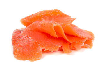 smoked salmon slices isolated on white background