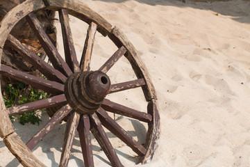 Old wooden wheel spokes