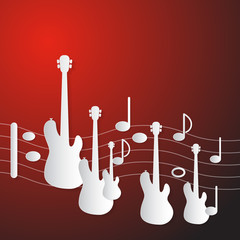 Abstract Red Music Background. Guitars and Staf.