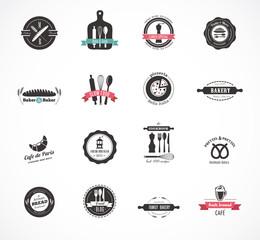 Set of vintage restaurant and food badges, labels