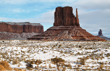 The majestic Monument Valley in winter