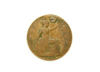 Defaced Vintage 1909 Copper British Penny