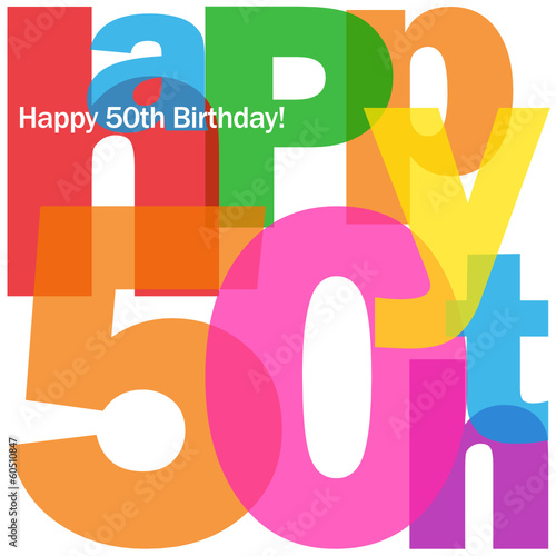 """""HAPPY 50TH BIRTHDAY"" CARD (fifty Party Celebration"