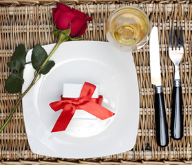 Fototapete - Romantic Dinner.Table place setting for Valentine's Day