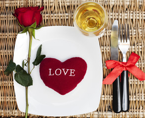 Wall Mural - Romantic Dinner.Table place setting for Valentine's Day