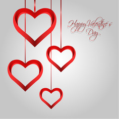 Vector Valentine´s Day Background with Red Hearts