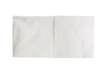 Folded white paper handkerchief isolated on white