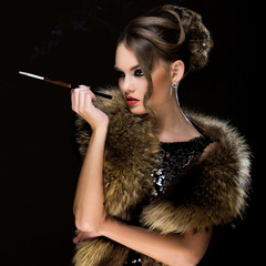 Vintage. Beautiful girl with cigarette