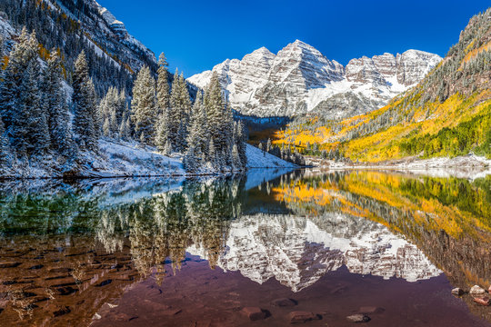 Maroon Bells, Colorado after snow strom